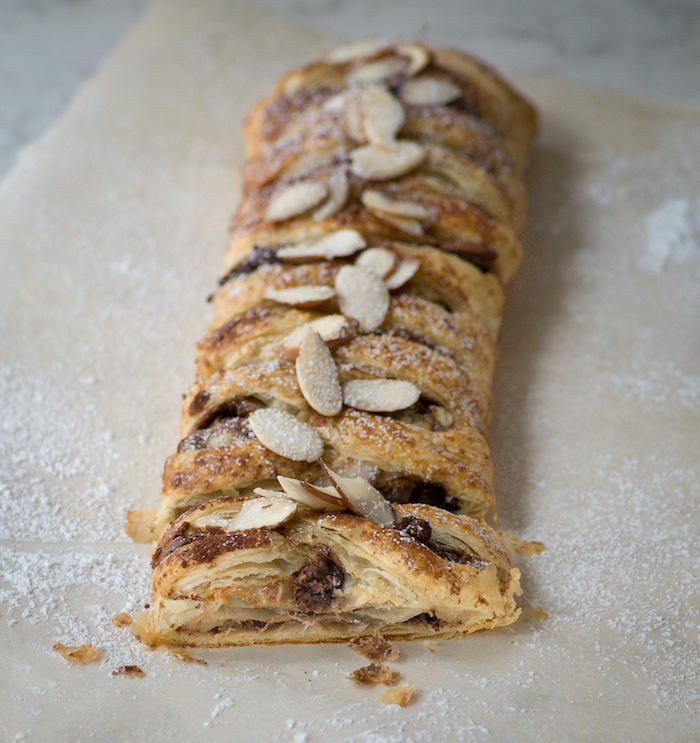 Recipe for a triple chocolate braided puff pastry.