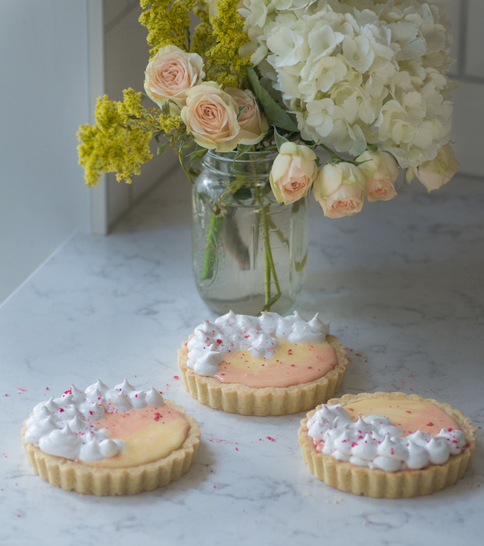 Recipe for tart filled with grapefruit and blood orange curd swirled with lemon curd.