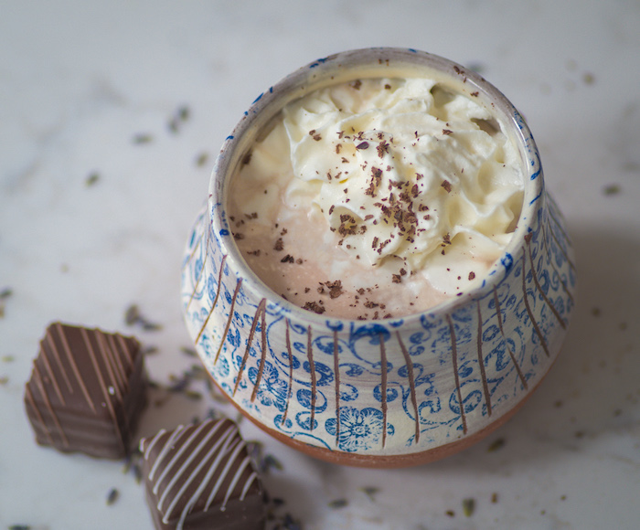 Easy recipe for lavender hot cocoa for one.