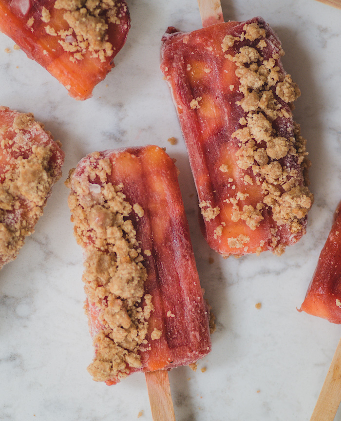 Recipe for peach pie popsicles.