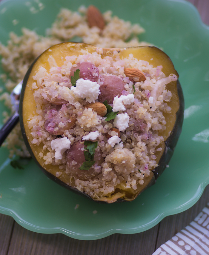 Quinoa & Grape Stuffed Acorn Squash